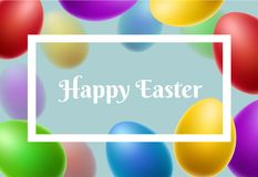 White frame with colorful Easter eggs. White frame with falling colorful Easter eggs. Vector illustration for Easter holiday and spring celebration Royalty Free Stock Photos