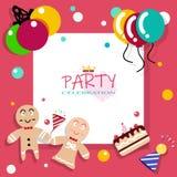 White frame flat design, party, carnival and celebration playful royalty free illustration