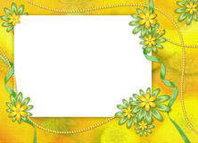 White frame with flowers on the abstract backgr. White frame with yellow and green flowers on the abstract background Stock Photo