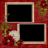 White frame with flowers and clock. On the abstract background Royalty Free Stock Image
