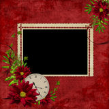White frame with flowers and clock Stock Photography