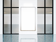 White frame in gallery interior. 3d render Royalty Free Stock Photos