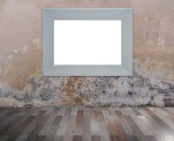 White frame on grunge wall. Illustration of a white wooden fame on a grunge wall with wooden floorboards Stock Photography