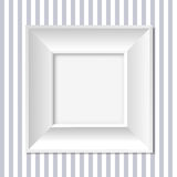 White frame. Illustration of an empty frame on  striped wall Stock Image