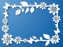 White frame with leaves and flowers. Vector illustration Royalty Free Stock Image