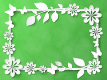 White frame with leaves and flowers. Vector illustration Royalty Free Stock Images