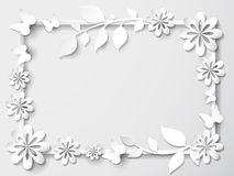 White frame with leaves and flowers. Vector illustration Stock Photos
