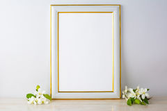 White frame mockup with apple blossom Stock Photo