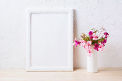 White frame mockup with pink and purple flower bouquet Royalty Free Stock Photography
