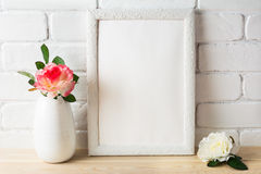 White frame mockup with pink and white roses Royalty Free Stock Images
