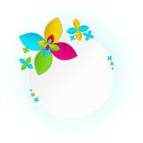 White frame with multicolor flower Stock Photo