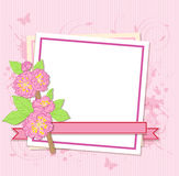 White frame with peach flowers Stock Image