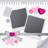 White frame for photos. With scrapbook elements Royalty Free Stock Images