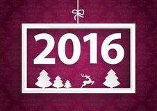 White Frame Purple Ornaments 2016 Stock Photo