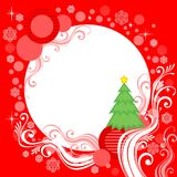 White frame on red background. White frame with a fur-tree on a red background Stock Images