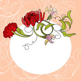 White frame with red flowers. Colorful illustration Royalty Free Stock Photos