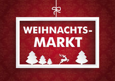 White Frame Red Ornaments Christmas Market Royalty Free Stock Photography