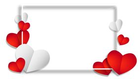 The white frame with red and white hearts. Sainte Valentine`s Day, background, love stock illustration