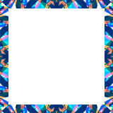 White Frame with Sharp Geometric Multicolor Collage Pattern Bord Royalty Free Stock Photo