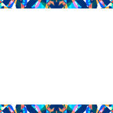 White Frame with Sharp Geometric Multicolor Collage Pattern Bord Stock Photography