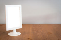 White frame on tableware. Stock Photos