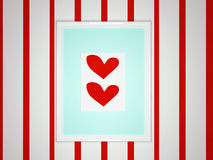 White frame with two hearts on picture Stock Photo