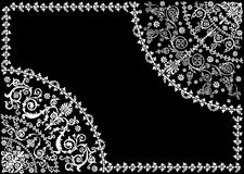 White frame with two quadrants. Illustration with floral frame decoration on black background Royalty Free Stock Photos