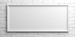 White frame on white brick background. 3d illustration Royalty Free Stock Photo