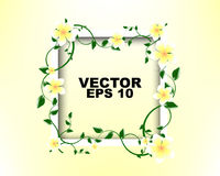 White Frame with white yellow Flowers template design Royalty Free Stock Photo