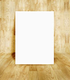 White frame at wood parquet room Royalty Free Stock Images