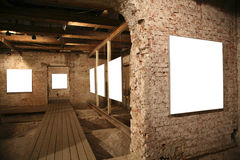 White frames among brick walls royalty free stock image
