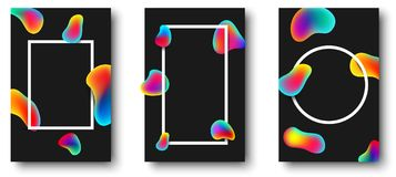 White frames with colour drops on black background. White frames with abstract rainbow drops on black background. Vector illustration royalty free illustration