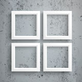 4 White Frames Concrete Royalty Free Stock Photos
