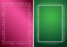 White vector frames on green and red backgrounds Stock Images