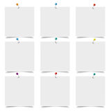 9 White Frames. White frames with pins on the white background Royalty Free Stock Images