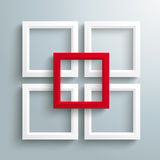 4 White Frames Red Centre Silver Background Stock Photography