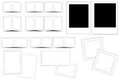 White frames and slides. With shadows on white background Royalty Free Stock Photos