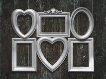 White  frames on vintage  wooden background Stock Images
