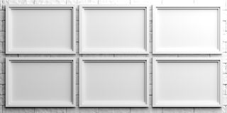 White frames on white brick background. 3d illustration Stock Image