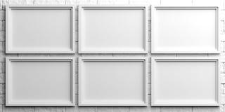 White frames on white brick background. 3d illustration. White empty frames on white stone background. 3d illustration Stock Image