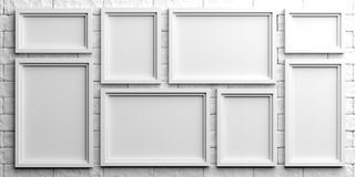 White frames on white brick background. 3d illustration Royalty Free Stock Image