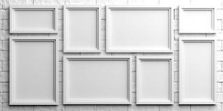White frames on white brick background. 3d illustration. White empty frames on white stone background. 3d illustration Royalty Free Stock Image