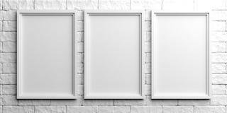White frames on white brick background. 3d illustration. White empty frames on white stone background. 3d illustration Stock Images