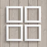 4 White Frames Wood Stock Photos