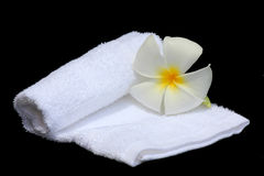 White Frangipani flower and towel. On black background Royalty Free Stock Photography