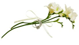 White freesia flowers and two golden rings tied with silk ribbon royalty free stock image