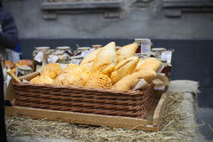 White french bread in the basket Stock Photos