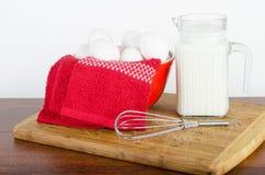 White fresh farm eggs and Millk Stock Photos