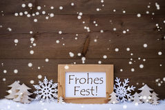 White Frohes Fest Means Merry Christmas, Snow, Snowflakes Stock Photography