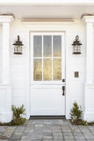 White front door to classic home Royalty Free Stock Image